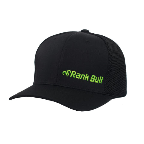 Rank Bull Mini-Corpo Flexfit Ultrafibre Cap in Black with Neon Green Logo