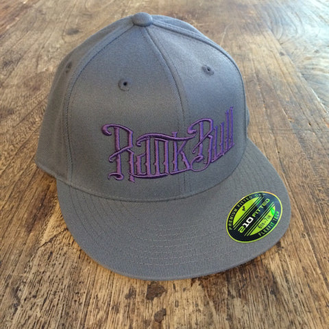 Rank Bull Premium Flexfit 210 Cap in Charcoal with Purple Script Logo