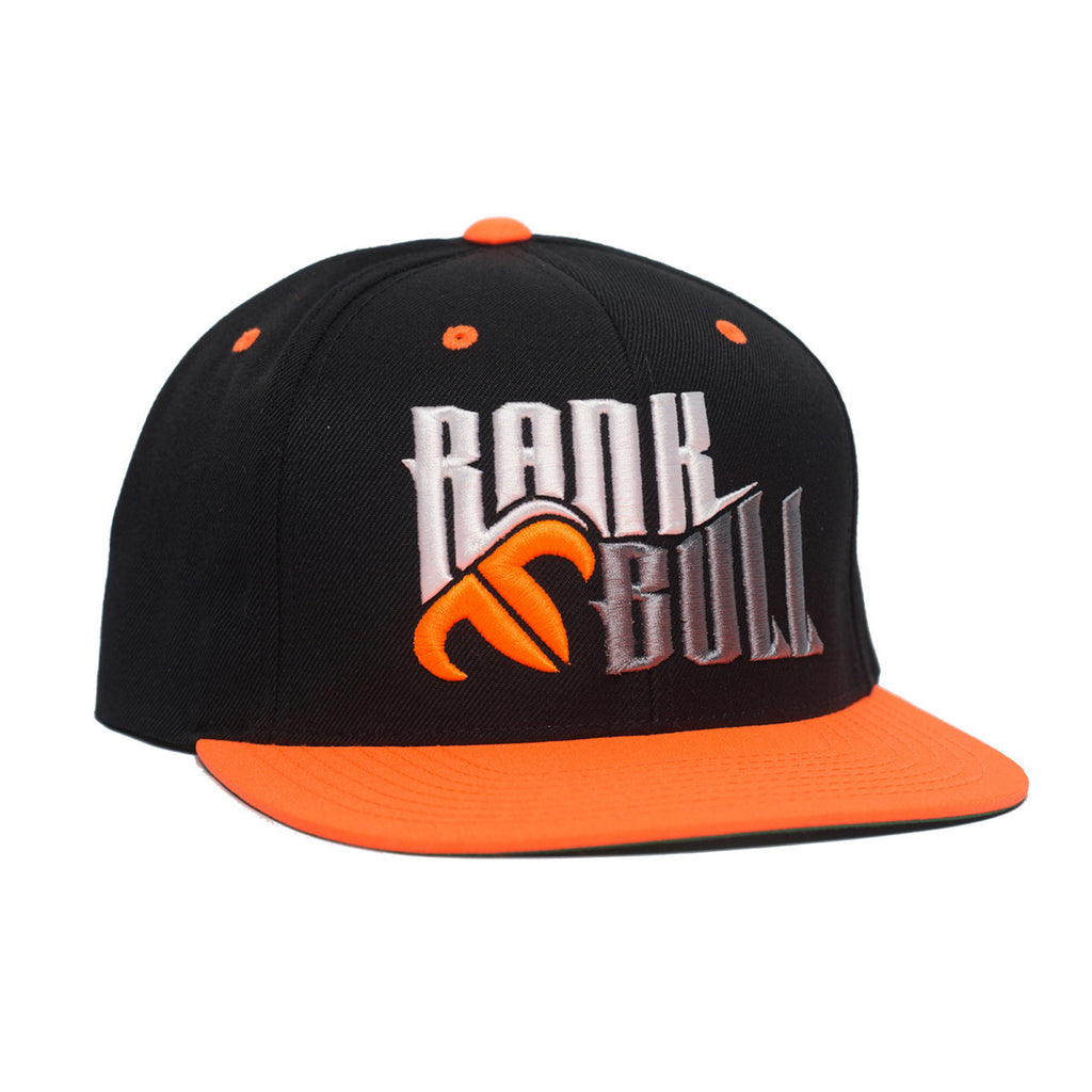 Rank Bull Snap Lite Pro-Style Wool Blend Flexfit Cap in Black and Orange Hat - Country Lifestyle Brand