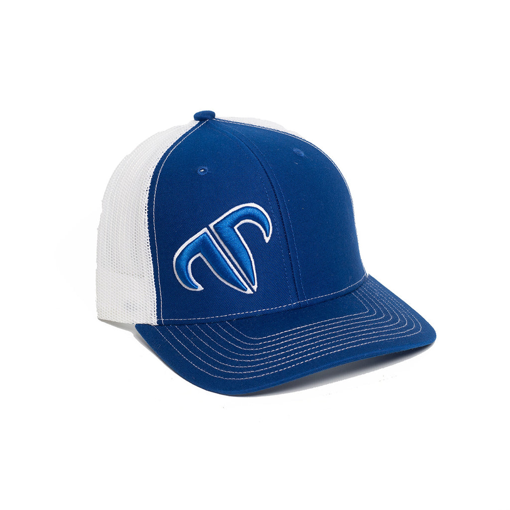 Rank Bull Icon 112 Trucker Cap in Royal and White