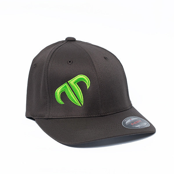 Youth Rank Bull Icon Cotton Twill Cap in Charcoal with Neon Green Logo Hat Kids Children - Country Lifestyle Brand