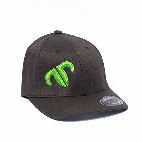 Youth Rank Bull Icon Cotton Twill Cap in Charcoal with Neon Green Logo