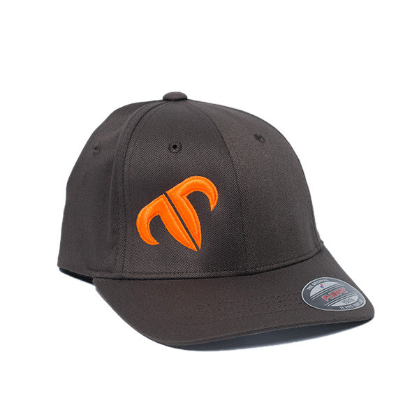 Youth Rank Bull Icon Cotton Twill Cap in Charcoal with Orange Logo Hat - Country Lifestyle Brand