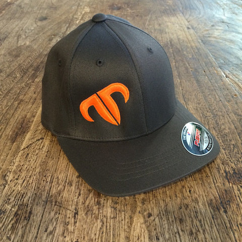 Youth Rank Bull Icon Cotton Twill Cap in Charcoal with Orange Logo
