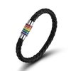 Black Rainbow Leather LGBT Lesbian and Gay Pride Bracelet