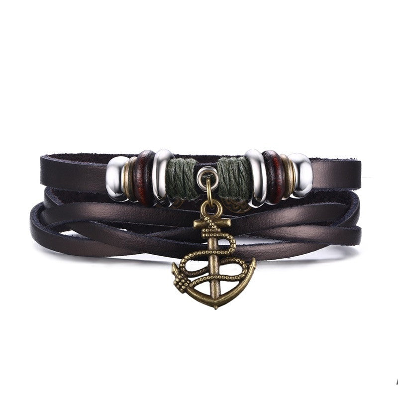 Multi-layer Genuine Leather Vintage Charm Bracelet