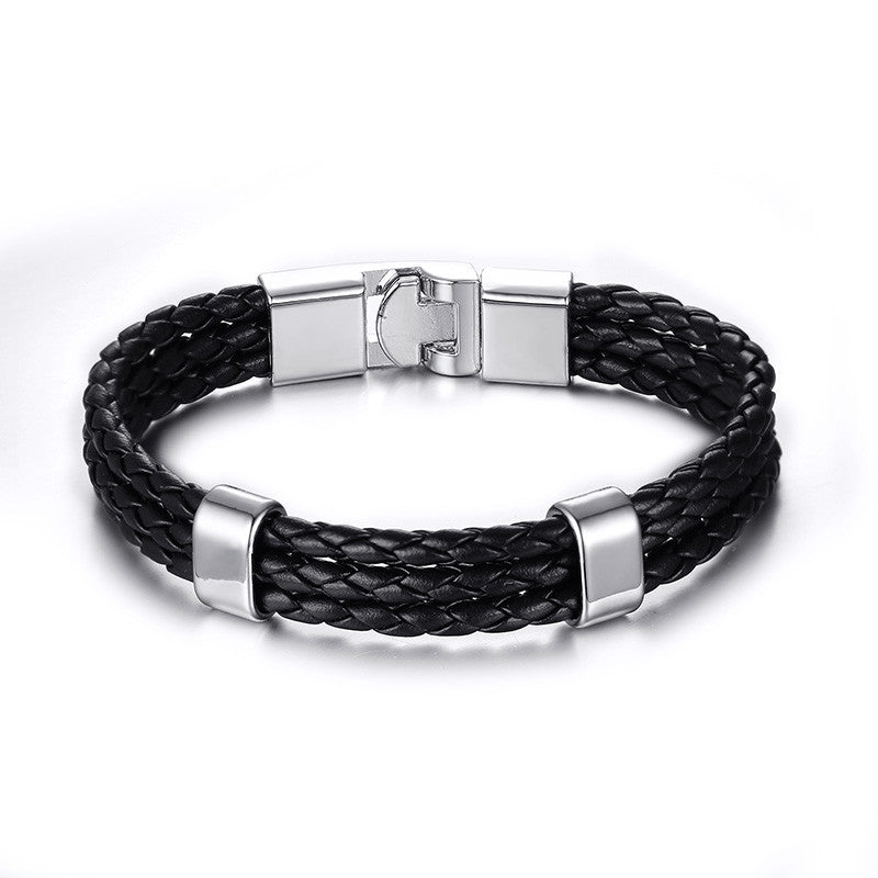 Leather Stainless Steel 3 Sinds Bracelet