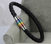 Black Rainbow Leather LGBT Lesbian and Gay Pride Bracelet 5