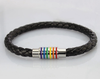 Black Rainbow Leather LGBT Lesbian and Gay Pride Bracelet 2