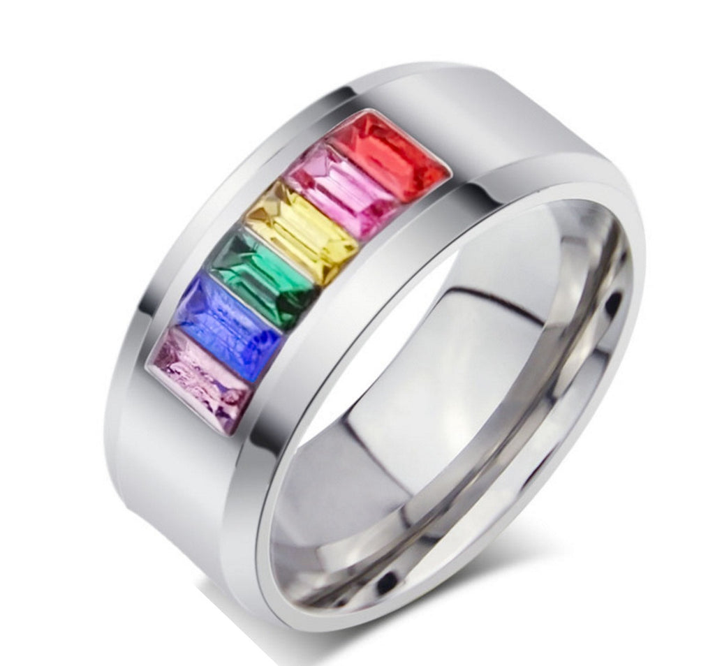 steel rainbow stainless for pride womens chain wedding rings dp spinner design size mens bands