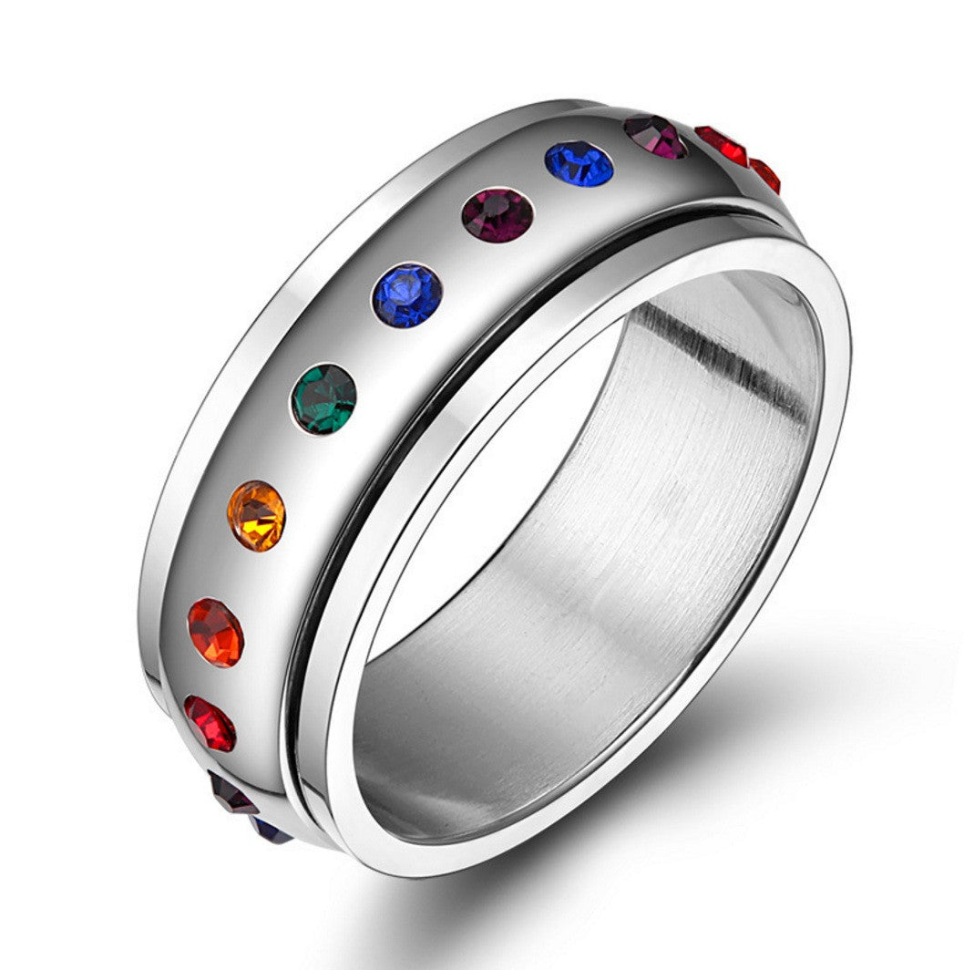 set iris ring anodized jewelry matching rings rainbow titanium wedding