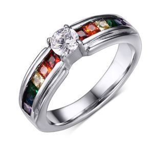 Rainbow Zircon Austrian Crystal Wedding Ring