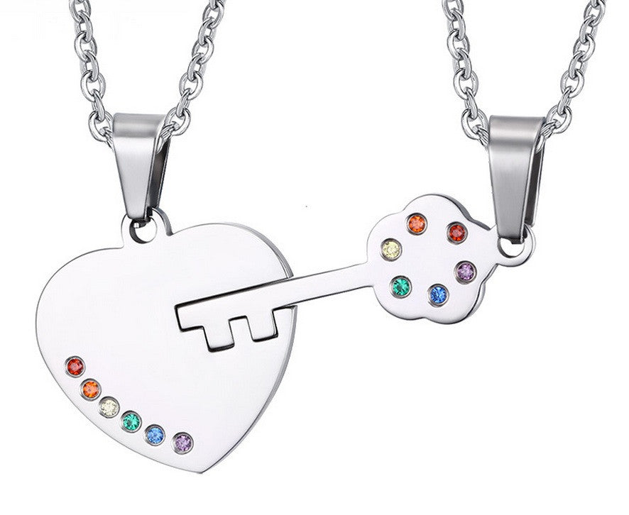 Heart And Key Necklace PAIR