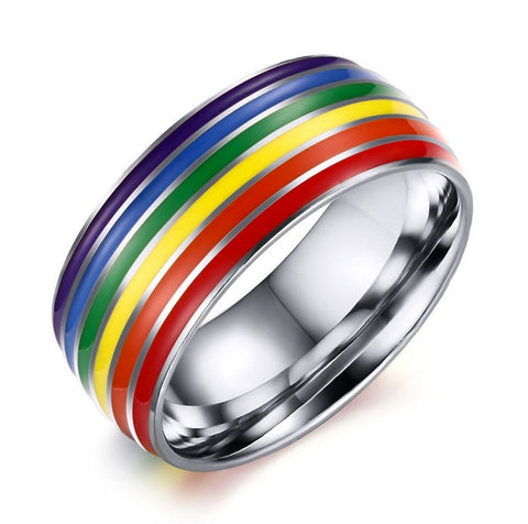 Silver Rainbow Wedding Ring