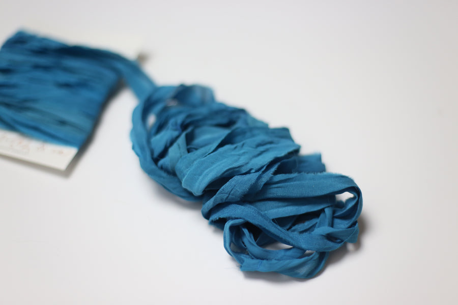 Hand Dyed Recycled Chiffon Ribbon - Caribbean