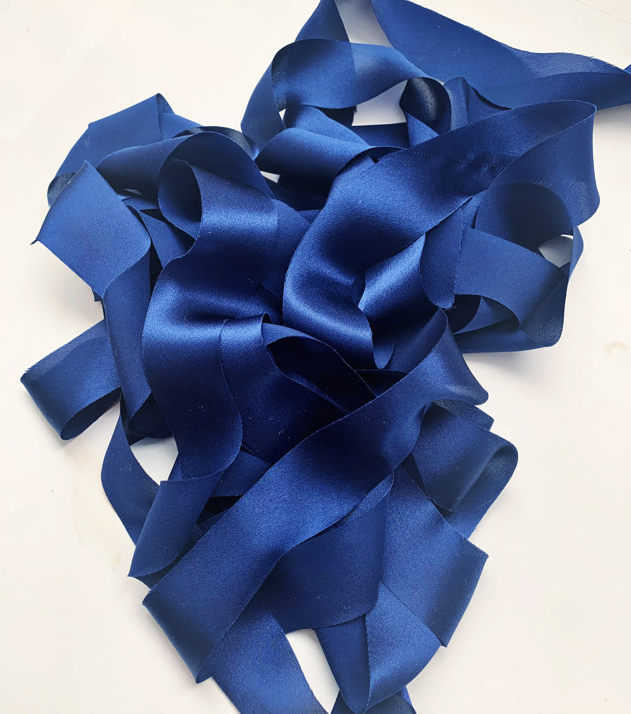 Sapphire - Luxury Silk Ribbon By the Yard 12mm
