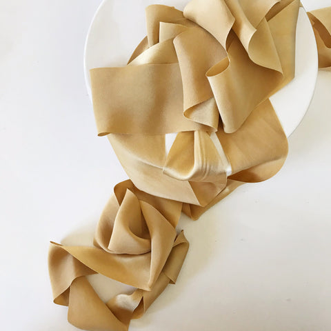 Golden - Luxury Silk Ribbon By the Yard