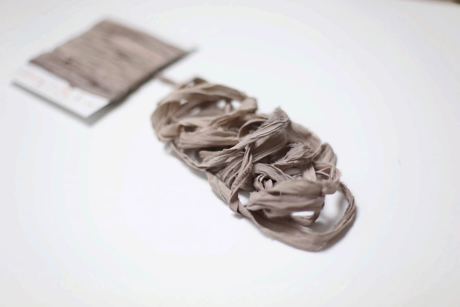 Hand Dyed Recycled Chiffon Ribbon - Smoke Mauve