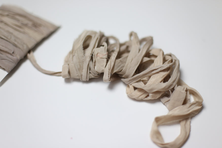 Hand Dyed Recycled Chiffon Ribbon - Nude