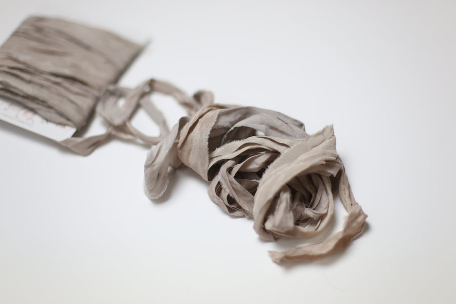 Hand Dyed Recycled Chiffon Ribbon - Pale Smoke Mauve