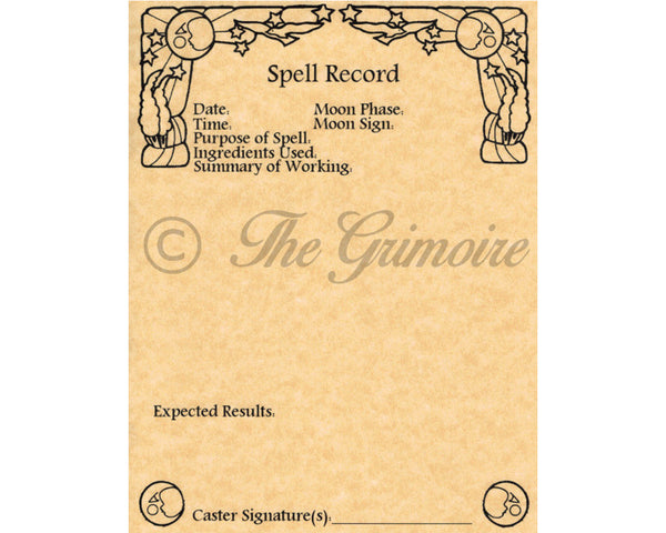 Spell Recording Worksheets