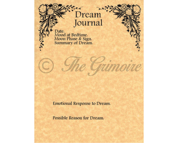Dream Journal Worksheets