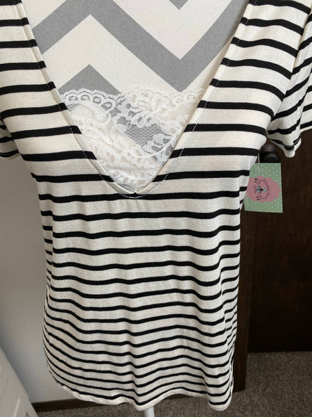 Calla Striped Top with lace Accents