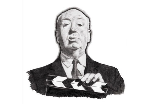 Mini Print featuring 'Alfred Hitchcock' by Elli Merkis