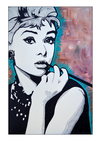Mini Print featuring 'Audrey Hepburn' by Lyneth Morgan