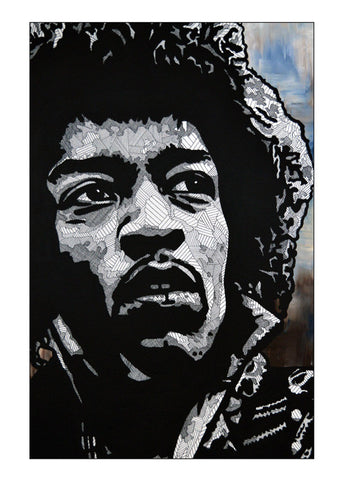 Mini Print featuring 'Jimi Hendrix' by Lyneth Morgan
