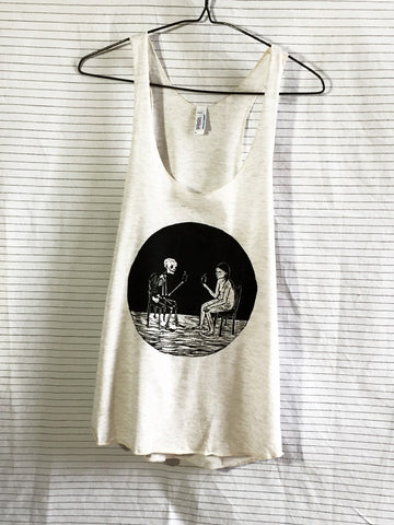 'Living with Yourself' by Melissa Blackman on Racerback Tank Top