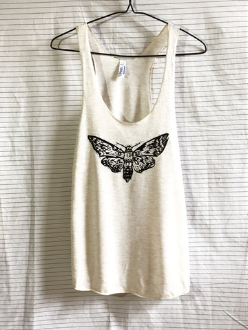 'Death's Head on a Moth' by Melissa Blackman on Racerback Tank Top
