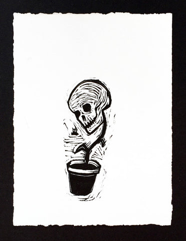 'Potted Skull' Linocut Print by Melissa Blackman