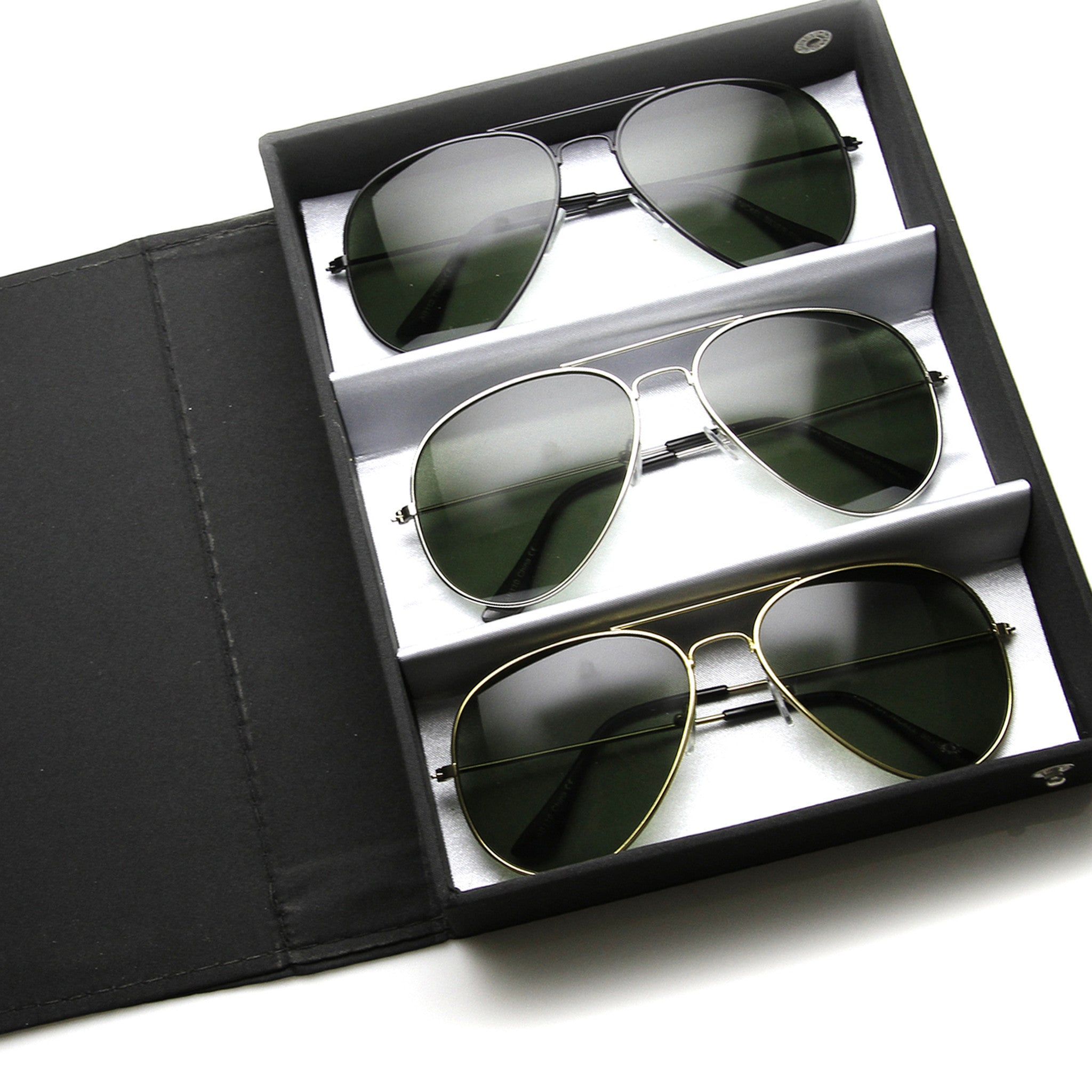 f65a87187 Limited Edition Classic Metal Military Aviator Sunglasses + Travel Case 1041