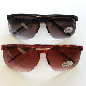 Retro 1970's Plastic Half Frame Sports Sunglasses