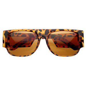 Retro 80s Modern Square Flat Top Side Window Hipster Sunglasses 8097