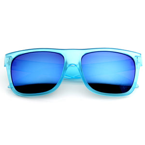 Frosted Retro Flat Top Candy Color Revo Lens Sunglasses 8610