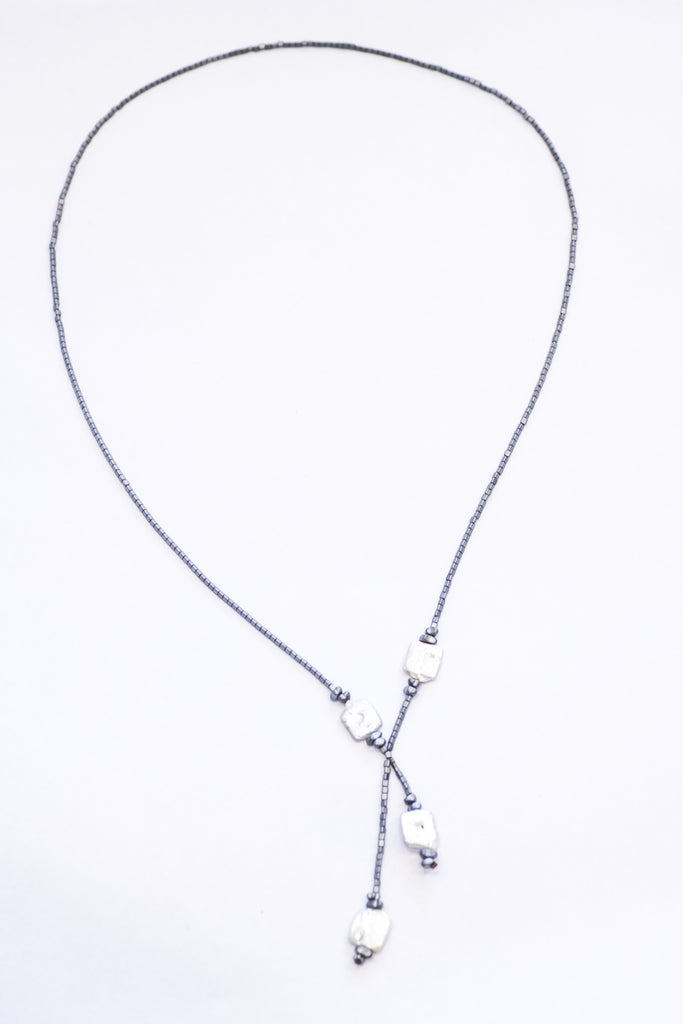 Elfy Long Silver Hematite with Fresh Water Pearls Cross-over Necklace