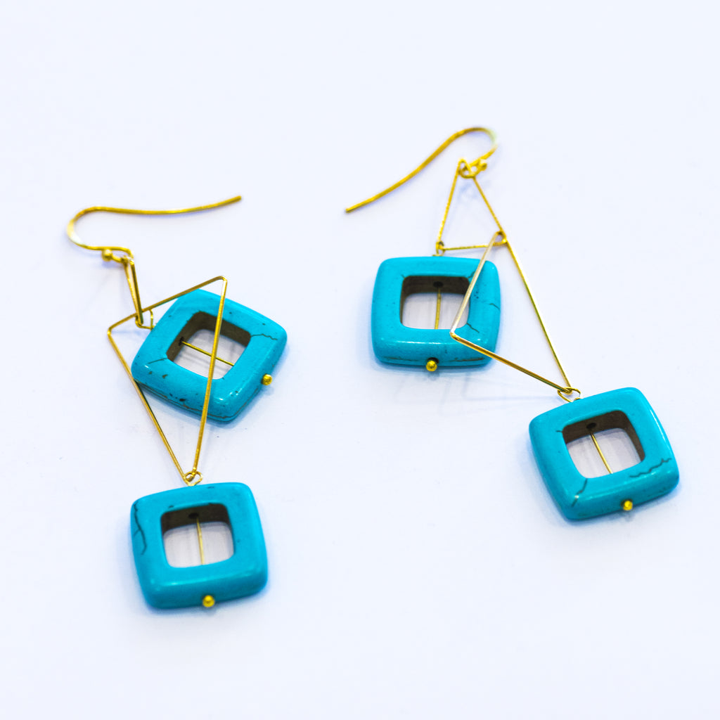 Elfy Earrings Brass Gold Triangles with Large Aqua Squares