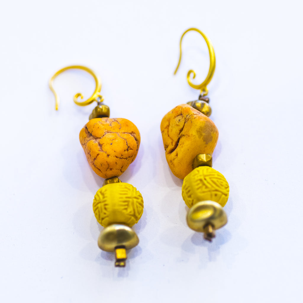 Elfy Earrings Funky Yellow Orange with Gold Hook