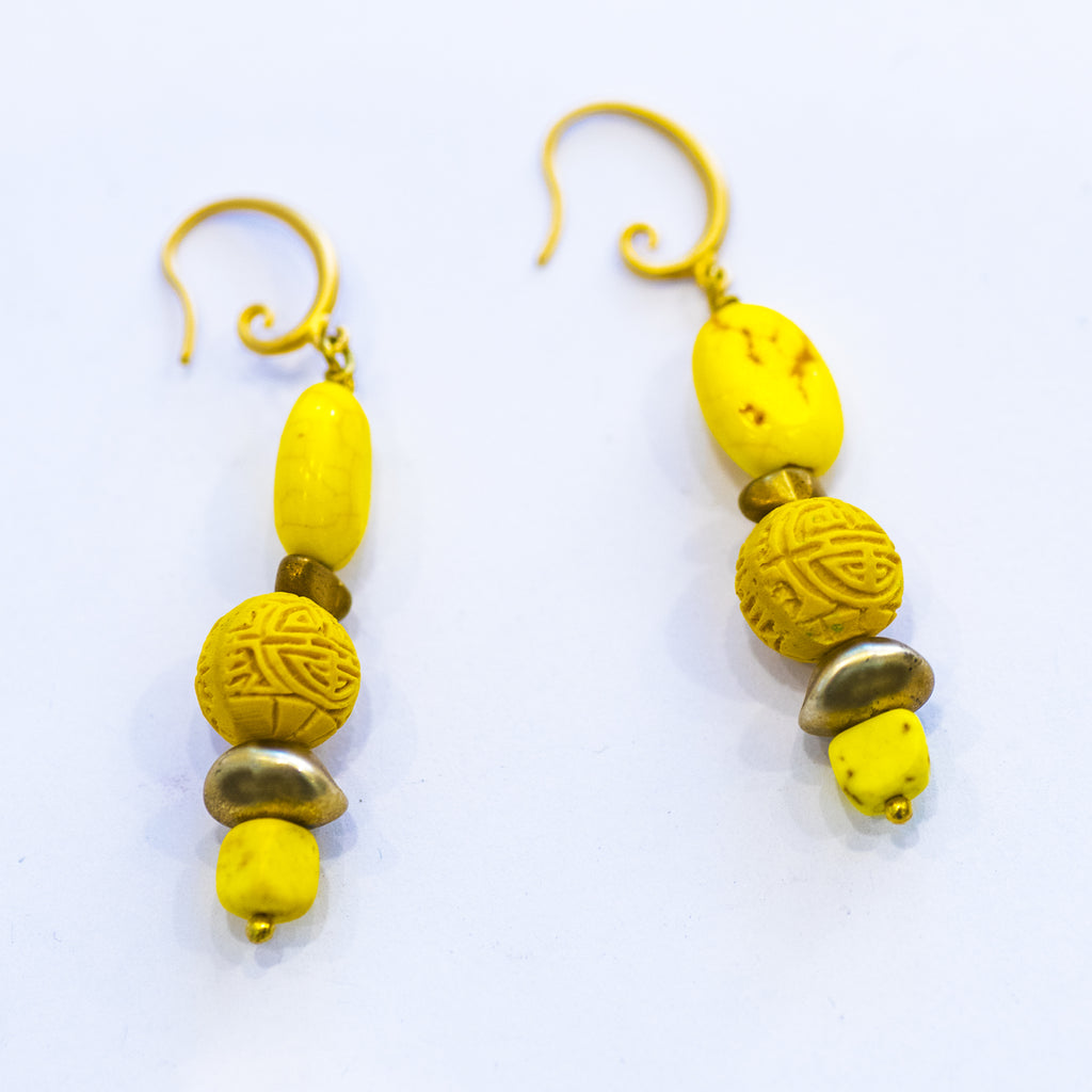 Elfy Earrings Funky Yellow with Gold Hook