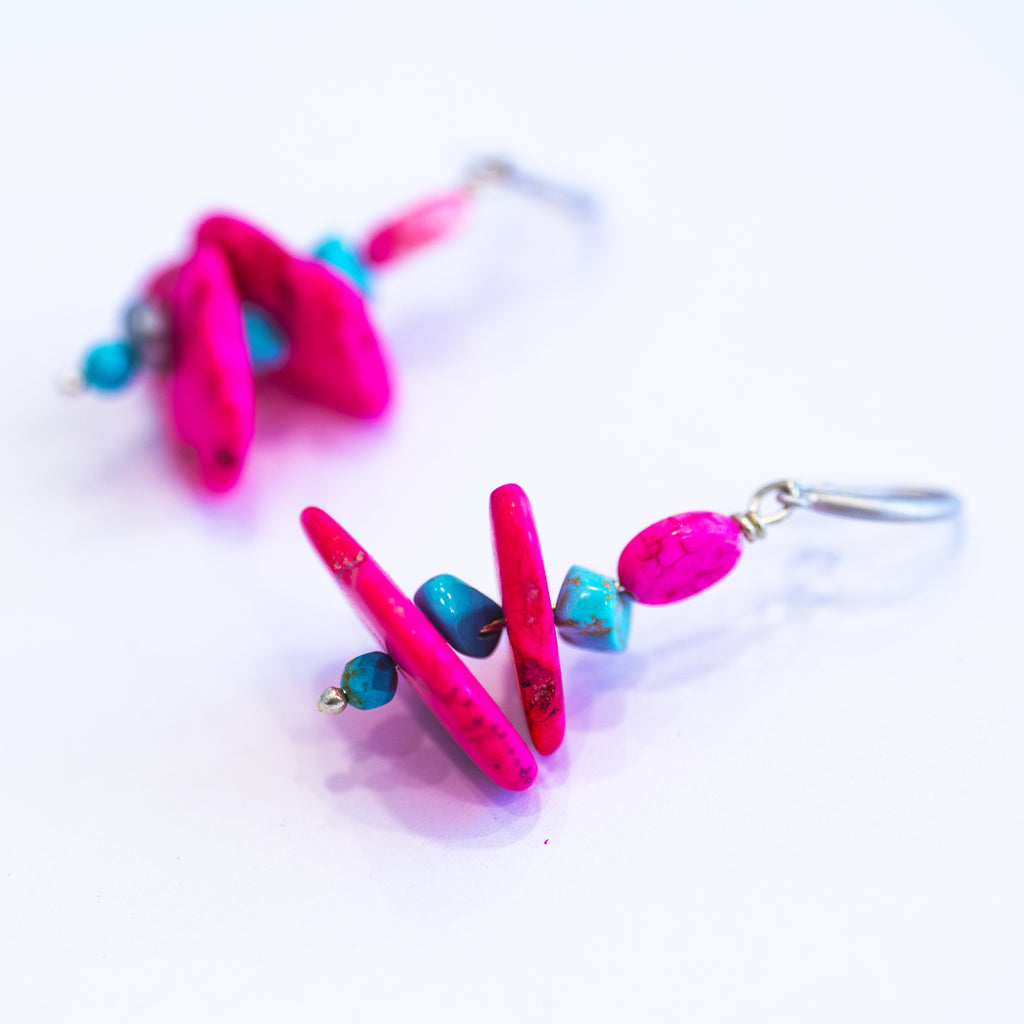 Elfy Earrings Funky Hot Pink a touch of blue with Gold Hook