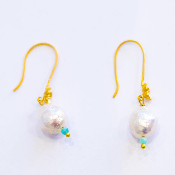 Elfy Earrings Soft Silver Floral with Soft Pearl & a touch of light blue