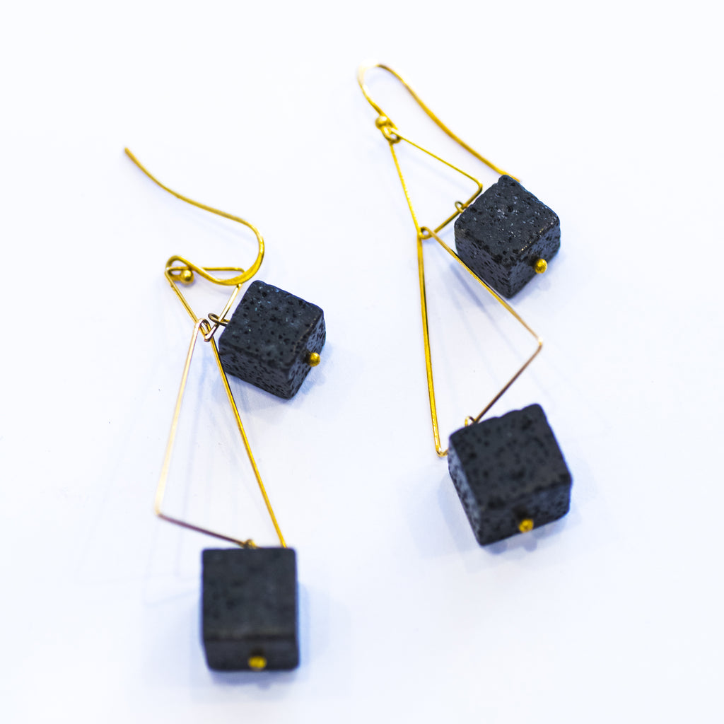 Elfy Earrings Brass Gold Triangles with Black Volcanic Rock Cubes