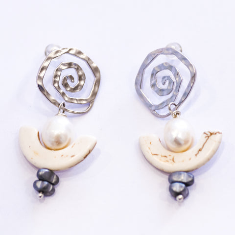 Elfy Earrings Silver Spiral Hook with Small Pearl & half Circle White Howlite