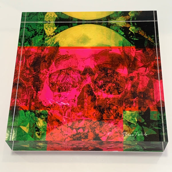 Tile Art - Neon Pink Lime Skull