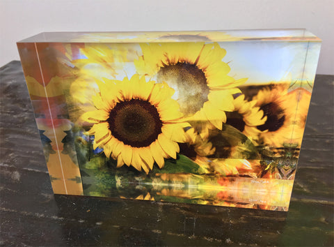 Free Standing - Sunflower Peach Apricot Classic Gold 2 Rectangle