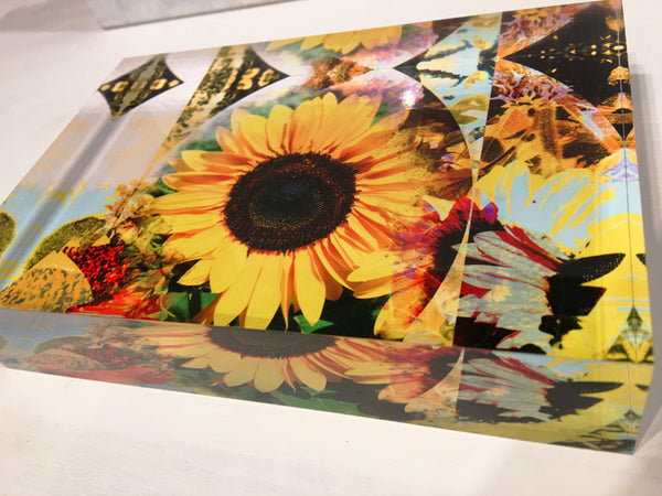 Free Standing - Sunflower Retro Psychedelic 3 Rectangle