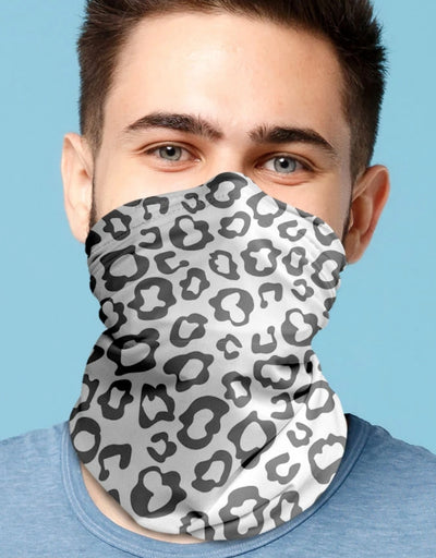 Face Scarf - Leopard Mono Grey, Face Mask, Kover - Say It Sister