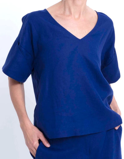 Elk - Hallvi Linen Top Cobalt, Top, Elk - Say It Sister